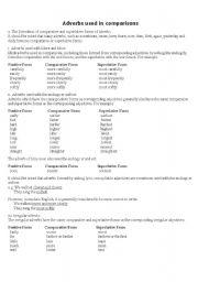 English worksheet: Comparative adverbs