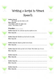 English worksheets: Direct Speech