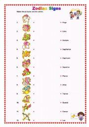 Zodiac Signs - ESL worksheet by Kru_Too