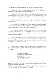 English worksheet: Guy Fawkes day