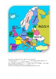 English Worksheet: The weather in Europe.