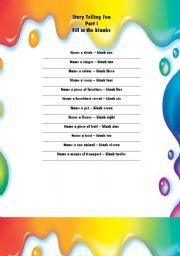 English Worksheet: Story telling Fun