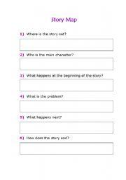 English worksheet: story map