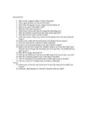 English Worksheets: Beowulf Movie Test