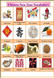 English Worksheet: Chinese New Year Vocabulary (Cryptogram & Reading Exercise) 2 pages