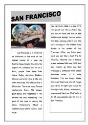 English Worksheet: SAN FRANCISCO :) READING PASSAGE WITH QUESTIONS -ANSWER KEYS INCLUDED :) HAVE FUN
