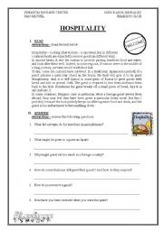 English Worksheets: hospitality