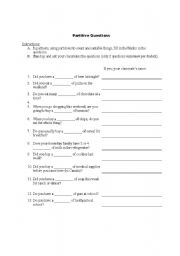 English Worksheet: Partitive Questions - Find Someone Who...