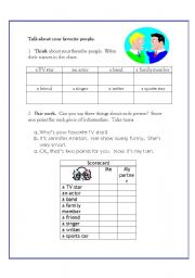 English worksheet: Talk about your favorite people