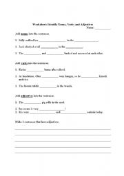 English Worksheets: Worksheet: Identify Nouns, Verbs and Adjectives