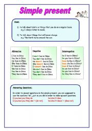 English Worksheet: Simple Present Tense - Grammar, song and activities