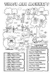 English Worksheet: Those are monkeys