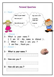 English Worksheets: practice personal questions