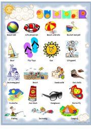 English Worksheet: Summer pictionary