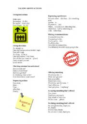 English Worksheets: TALKING ABOUT ACTIONS
