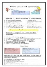 English Worksheets: idioms and fixed expressions