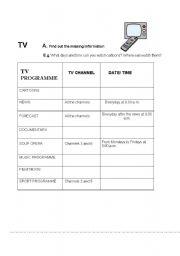 English Worksheets: INFORMATION GAP: TV