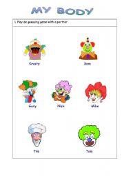 English Worksheets: My body, describing clowns