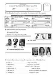 English Worksheet: Comparative and superlative degree of adjectives