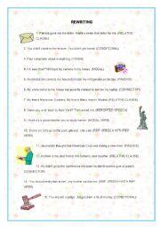 English Worksheets: REWRITING UPPER INTERMEDIATE
