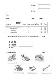 English Worksheet: Extreme Sports and Equipment Test