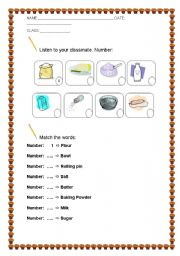 English Worksheets: GINGER BREAD MATCHING INGREDIENTS