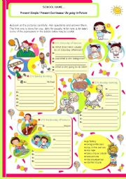 English Worksheet: Grammar ws on 3 Verb Tenses: Present Simple, Present Continuous and Be going to Future for Upper Elementary /Intermediate students