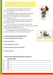 English Worksheet: WILLIAM SHAKESPEARE-READING PASSAGE WITH EXERCISES-VERY NEAT,HANDY ONE WITH ONE PAGE...+ answer key included :P