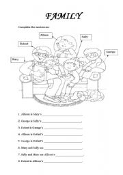 English teaching worksheets: Family relationships