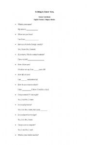 English Worksheets: Getting to Know You.