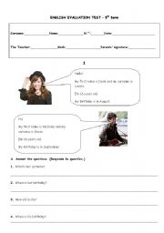 English Worksheet: 5th form test - presenting yourself