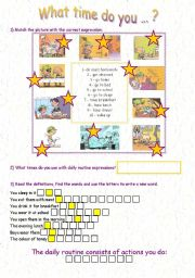 English Worksheets: daily routine and time pairwork