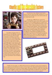 English Worksheet: Charlie and the Chocolate Factory reading