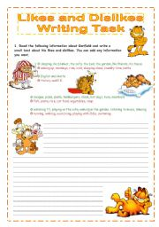 English worksheet: Likes and Dislikes - Talking about Garfield