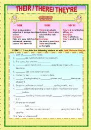 english worksheets their there and they re. Black Bedroom Furniture Sets. Home Design Ideas