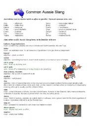 English Worksheet: Australian Slang - Vocabulary and Writing