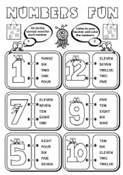 English Worksheet: Numbers Fun (1-12) - 2 pages