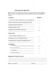 English Worksheets: New article checklist