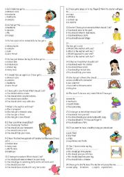 English Worksheet: HEALTH AND SHOULD TEST