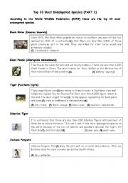 English Worksheet: Top 10 Most Endangered Species (PART 1)