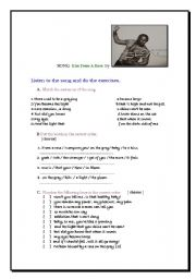 English worksheet: Song A kiss from a rose