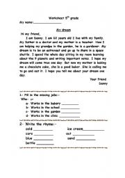 English Worksheets: My Dream