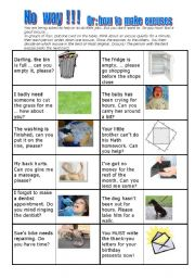 English Worksheet: No  way !!! - Or:  how  to  make  excuses