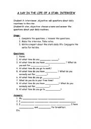 English worksheet: Interview to a star
