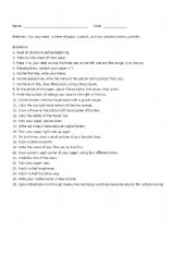 English Worksheet: Following Directions