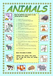 English Worksheets: Animals - matching a definition to a picture