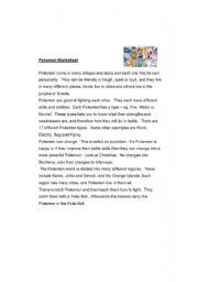 POKEMON 4 page WS - Reading + comprehension excercises etc