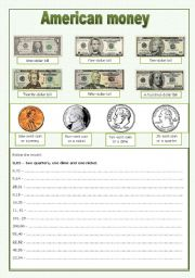English Worksheet: American money