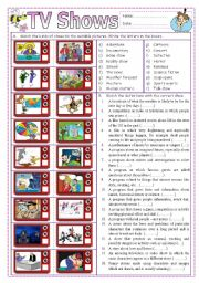 English Worksheets: TV Shows