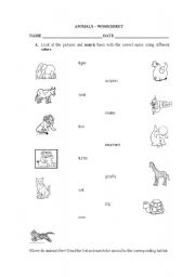 English Worksheets: ANIMALS - WORKSHEET
